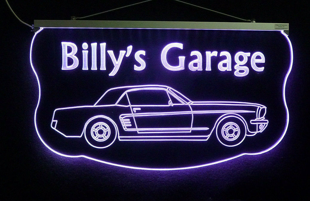 Personalized For Mustang Sign, Gift for Dad, LED Mancave Sign image 4