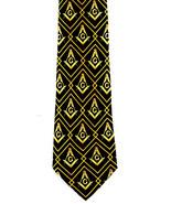 Masonic Diamonds Mens Neck Mason Freeman Compass & Square Black Necktie - $15.79