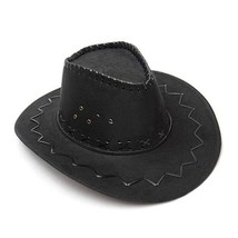 KLV 1Piece Mens Fashion Cowboy Hat Suede Look Wild West Fancy Dress Blac... - $9.13