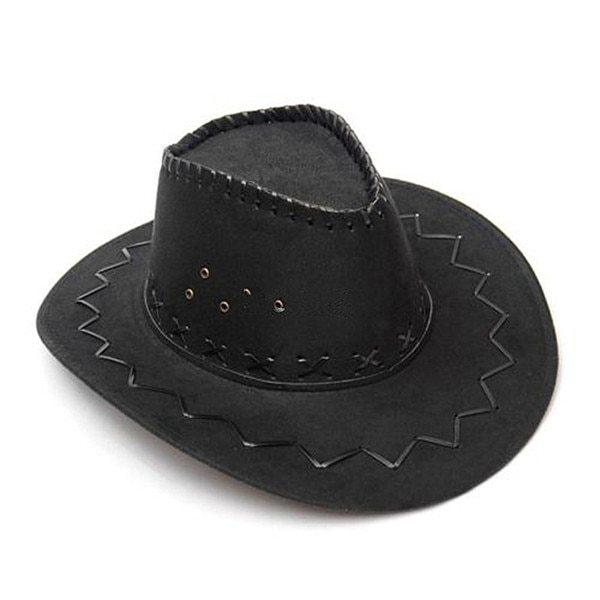 Klv 1piece mens fashion cowboy hat suede look wild west fancy dress black newest ladies unisex