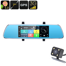 Full-HD Rearview Mirror Car DVR - 7 Inch, Android 5.0, GPS, Dual Camera,... - $149.77