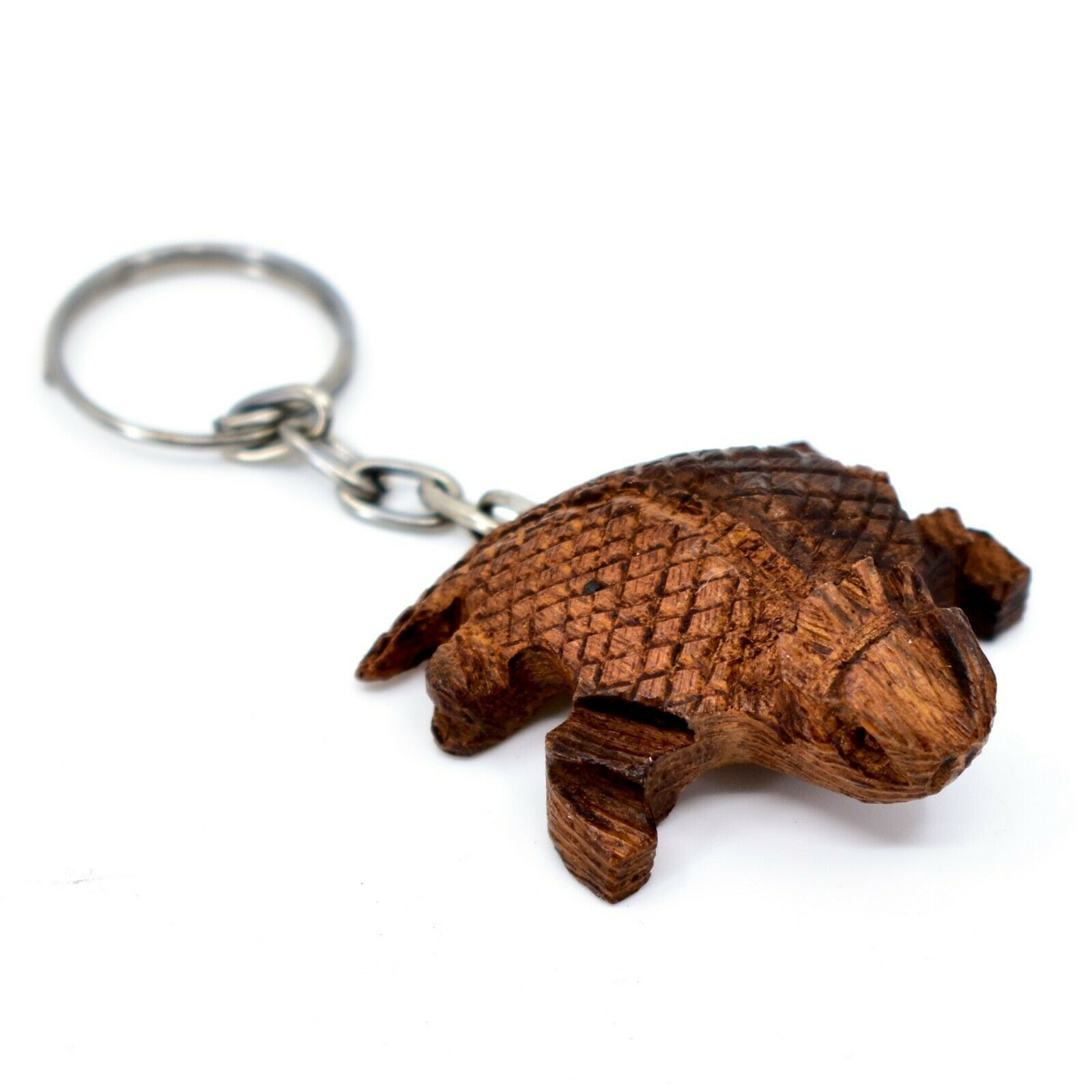 Hand Carved Ironwood Wood Folk Art Country Western 3D Horned Toad Keychain