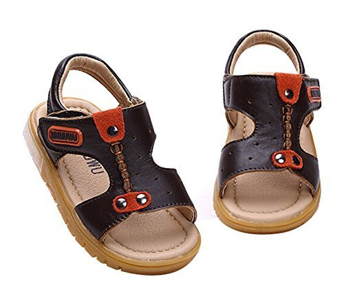 Cute Boy's Beach Sandals Comfortable Summer Shoes DARK BROWN, Feet Length 12.5CM
