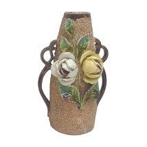 English Majolica Sandstone Rose Double Handled Vase - $950.00