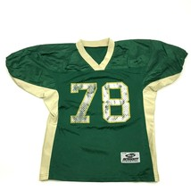 VINTAGE Football Jersey Youth Size YL / YXL Green V-Neck Flag Two Hand T... - $16.05