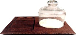 """NEW WOOD CHEESE CUTTING SNACK BOARD WITH GLASS DOME COVER 14.5"""" L X 10 W - $38.75 CAD"""