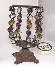 Vintage 60-70s metal Candle Holder glass marbles unusual Mid century Pop... - $60.00