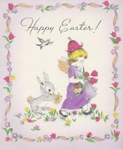 Vintage Easter Card Girl Bunny Rabbit Tulips 1945 Gibson Glitter - $8.90