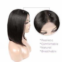 Short Bob Human Hair Wigs Brazilian Straight Virgin Human Hair Lace Front Wigs H image 3