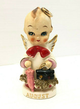 Vtg Kewpie Birthday Angel Figurine Arnart AUGUST Rhinestone Umbrella Bri... - $43.54