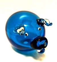 Art Glass Pig Blue Body Clear Applied Ears Snout Handcrafted 6 inches Long - $78.20