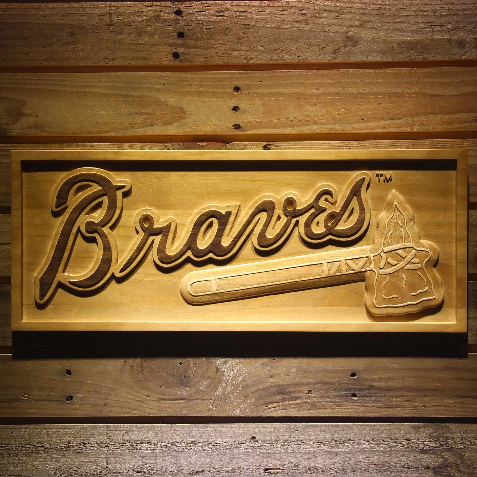 Baseball Home Decor: Atlanta Braves MLB Baseball Team Wooden Sign Wall Art Home