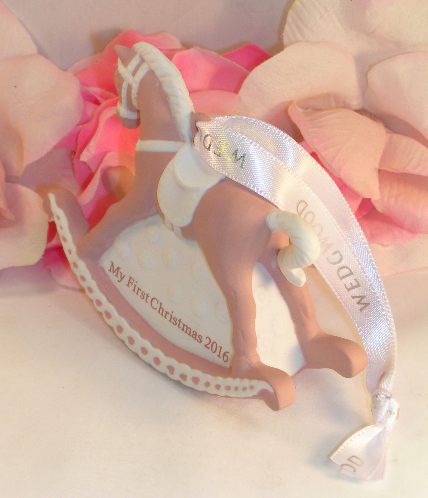 New Wedgwood Pink Jaspeware Baby 1ST First Christmas Rocking Horse Ornament 2016 image 6