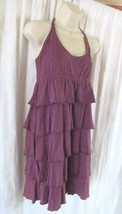 Ann Taylor Loft Dress M Purple Knee Length Scoop Neck Ruffles Flirty Fun - $12.47