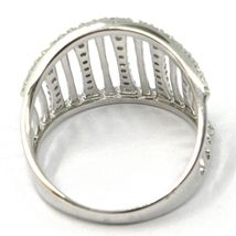 SOLID 18K WHITE GOLD BAND RING, MULTI WIRES, CUBIC ZIRCONIA, MADE IN ITALY image 4