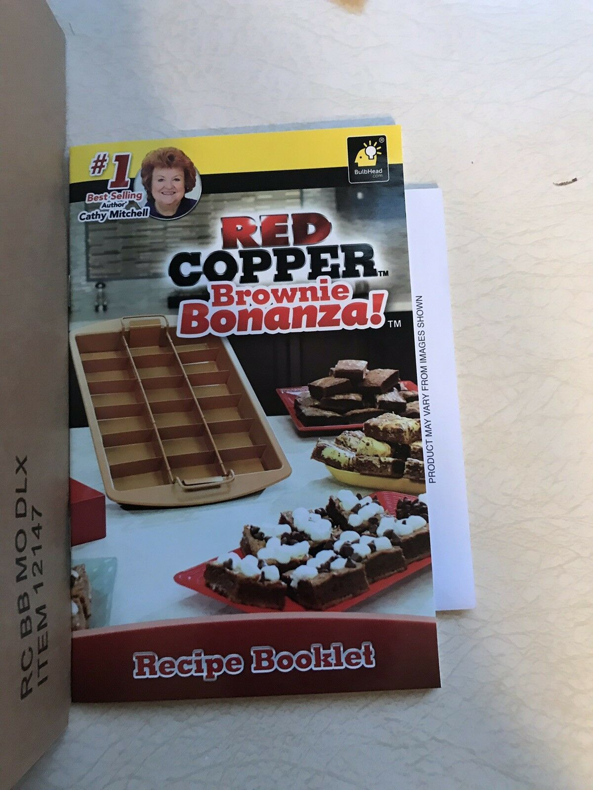 Red Copper Brownie Bonanza Pan by Bulbhead, Includes Recipe Guide - Brand New