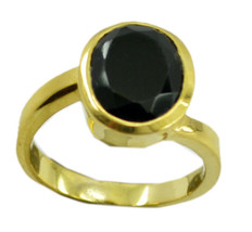 splendiferous Black Onyx Gold Plated Black Ring genuine casually US gift - $24.99