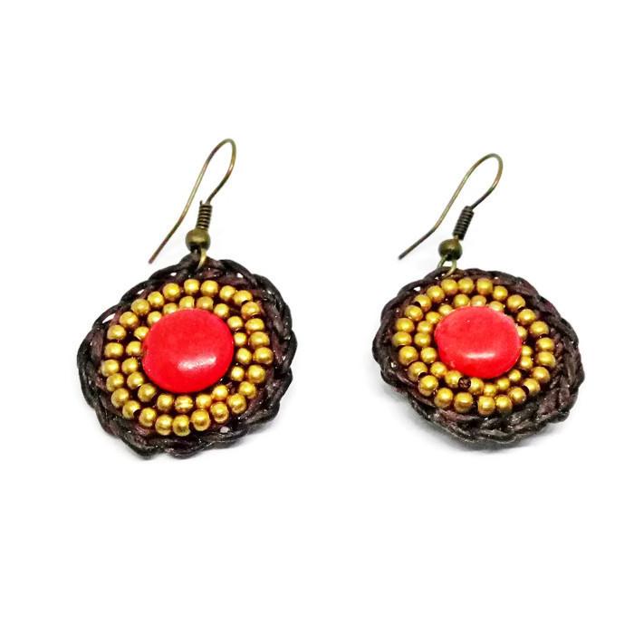 Red Hook Dangle Earrings Stone& Beads& Rope& Brass