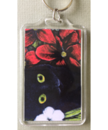 Large Cat Art Keychain - Black Cat with Red and White Flowers - $8.00