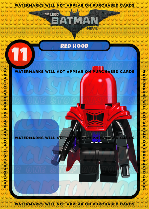 Lego Batman Movie Red Hood Custom Card Back- No Minifigure