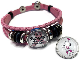 Breast Cancer Snoopy Hugs Survivor Pink Leather Bracelet W/2 Snap Jewelry Charms image 2