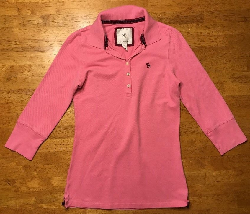 Abercrombie Girl's Pink 3/4 Sleeve Polo Shirt - Size: Large