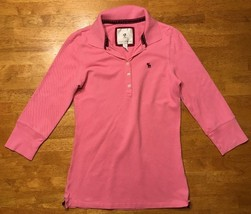Abercrombie Girl's Pink 3/4 Sleeve Polo Shirt - Size: Large image 1