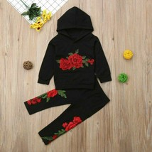 Fashion Toddler Baby Girl Floral Hooded Top Long Pants Outfits Clothes Tracksuit image 2