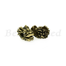 Dragon Head Spacer Bead,Antique Style CZ Micro Pave Animal Head Bead Cha... - $3.99