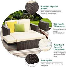 Garden Sofa Ottoman Set Patio Daybed Rattan Loveseat Wicker Furniture Cl... - $424.00