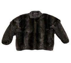 Vintage Women's Fur Coat Jacket w/ Knit Sleeves & Collar Brown Casual Si... - $98.99
