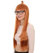 Womens Brown Long Straight Wig with Glasses    Video Game Wigs   Premium Breatha - $31.85