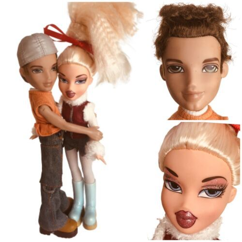 Vintage Bratz Couple Chloe 2001 Blonde Stylin Doll- Boyz Curly Brown Hair Dylan - $47.03