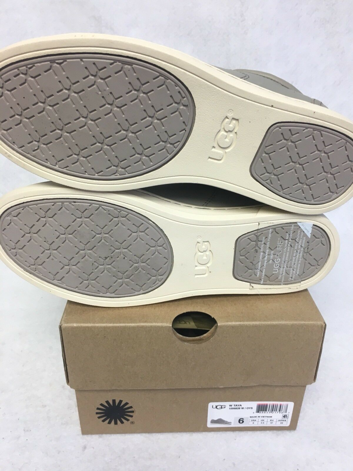 UGG Australia TAYA Oyster LEATHER FASHION SNEAKERS WOMENS 1006828 Lace Up Shoes