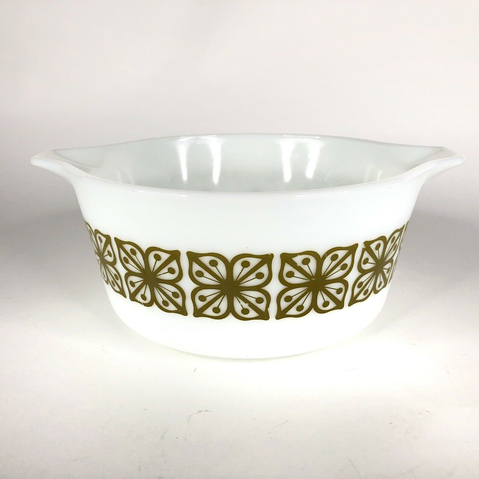 Pyrex Verde Square Green Flower Casserole Dish 474 B Covered Baking 1.5 Quart QT image 1