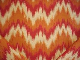 18-1/8Y KRAVET FIERY RUBY RED TAN FLAMESTICH IKAT DRAPERY UPHOLSTERY FABRIC - $343.73