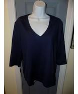 PECK & PECK ESSENTIALS Blue Stretch Top V-Neck 3/4 Sleeve Side Slit Shir... - $24.30
