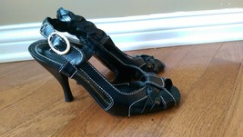Nine West Black Strappy Heels - Size 6.5M - NWChanise - Leather Upper - $14.99
