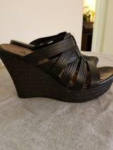 UGG Black Woven Leather Platform Wedge Sandals Size 8 - $75.00