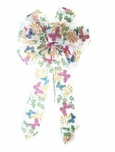 """10"""" Hand Made Wired Pink and Blue Butterfly Spring Wreath Bow Easter - $7.18"""