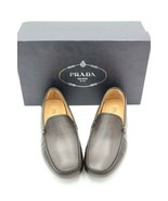 NIB PRADA Mens Brown Leather Moc-toe Venetian Moccasin Drivers Loafers 7... - $295.00