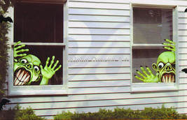 Set of 2 Creepy Frankenstein Window Mural Reusable Halloween Decor - £3.55 GBP