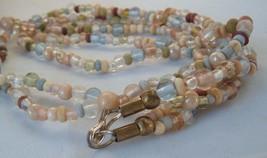 Glass bead boho necklace 2 strand Vintage earth tones bohemian  - $11.88