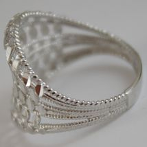 SOLID 18K WHITE GOLD BAND RING LUMINOUS AND BRIGHT, FINELY WORKED MADE IN ITALY image 3