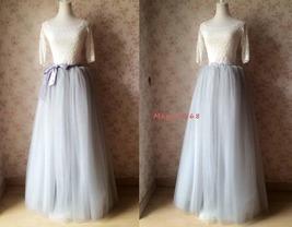 Women Extra Maxi Tulle Skirt Gray High Waist Long Tulle Skirt Party Bridal Tutu image 2