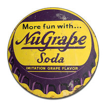 NuGrape Soda Imitation Grape Flavor Soda Cola Bottle Round MDF Wood Sign - $29.65
