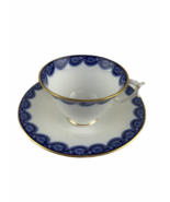 Antique 1903 Royal Worcester Bone China Cup & Saucer Cobalt Flow Blue 42... - $37.08
