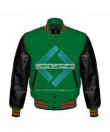 Green Varsity Baseball Genuine Leather Sleeve Letterman College  Men Woo... - $94.99
