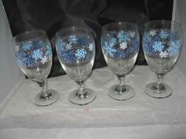 (4) Libbey Blue/White Snowflake Design Tea/Water Goblet - $10.00