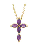 """Chatham® Created Marquise Alexandrite Cross 16-18"""" Necklace In 14K Yello... - $296.99"""